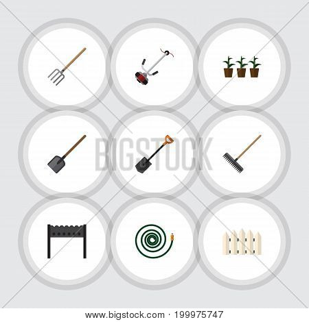 Flat Icon Dacha Set Of Barbecue, Grass-Cutter, Spade And Other Vector Objects