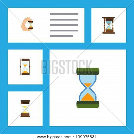 Flat Icon Sandglass Set Of Minute Measuring, Hourglass, Sand Timer Vector Objects