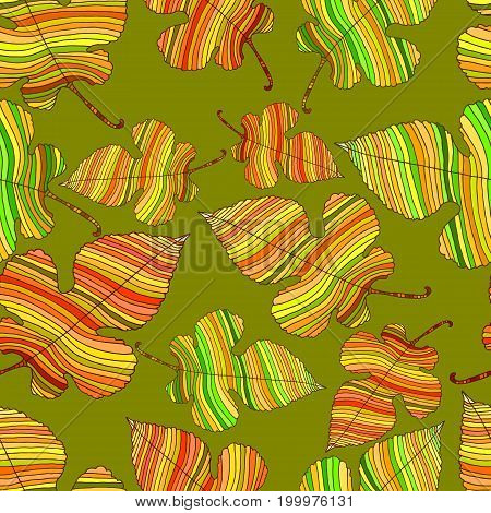 Bright autumn leaves seamless deciduous pattern isolated on a green background. Foliar cartoon style. Vector hand drawn illustration.