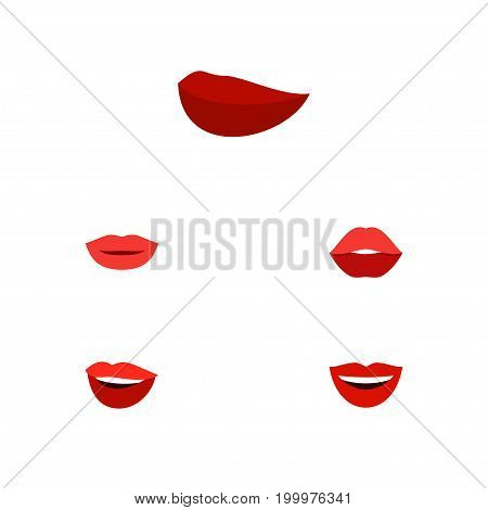 Flat Icon Mouth Set Of Lipstick, Mouth, Laugh And Other Vector Objects