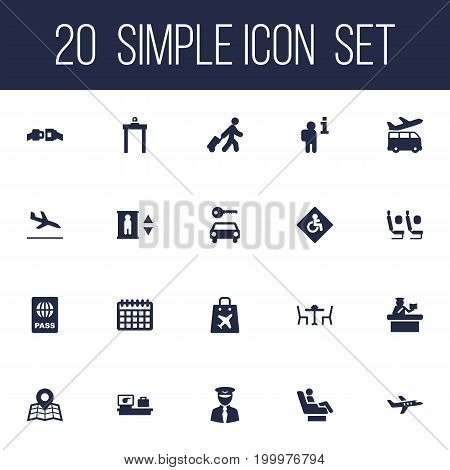 Collection Of Passport, Data, Location And Other Elements.  Set Of 20 Plane Icons Set.