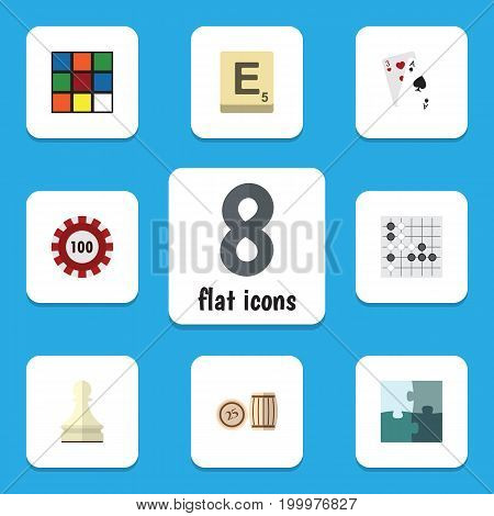 Flat Icon Entertainment Set Of Jigsaw, Poker, Gomoku And Other Vector Objects