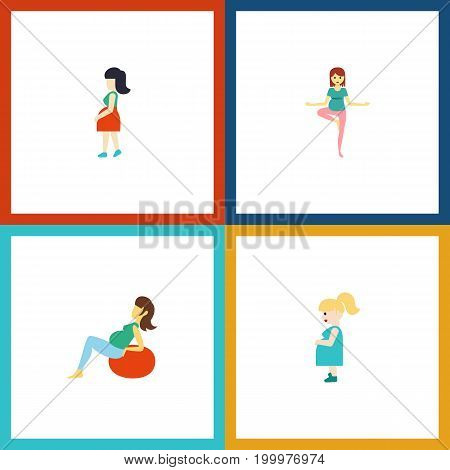 Flat Icon Pregnancy Set Of Mother, Pose, Lady And Other Vector Objects