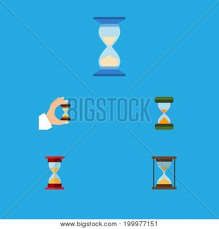 Flat Icon Timer Set Of Hourglass, Loading, Sandglass Vector Objects