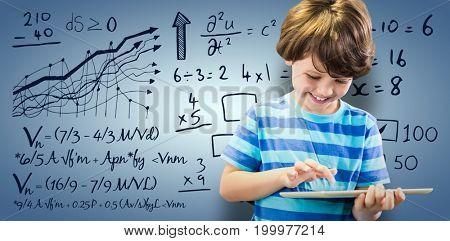 Smiling boy using digital tablet against purple vignette