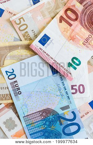 Euro currency macro closeup background with 5 10 20 and 50 notes