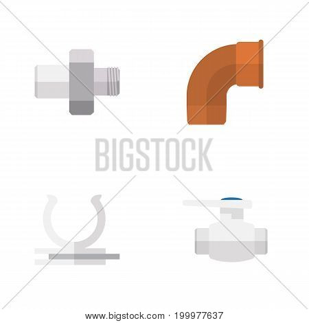 Flat Icon Sanitary Set Of Connector, Conduit, Flange And Other Vector Objects