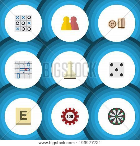 Flat Icon Play Set Of Backgammon, Mahjong, Sea Fight And Other Vector Objects