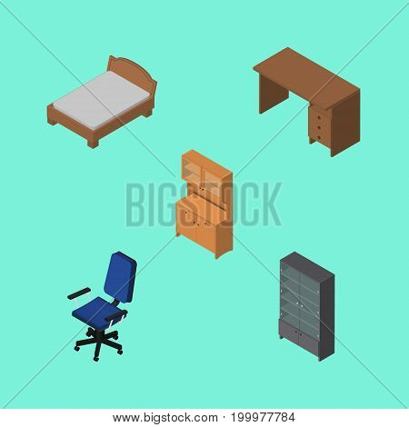 Isometric Design Set Of Cupboard, Bedstead, Table And Other Vector Objects