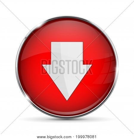Red DOWN button with white arrow. Shiny 3d icon with metal frame. Vector illustration isolated on white background