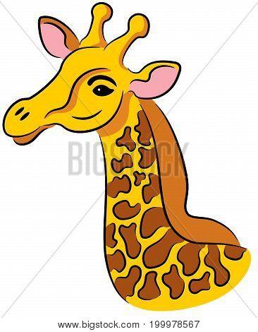 Vector illustration of cartoon giraffe head, isolated