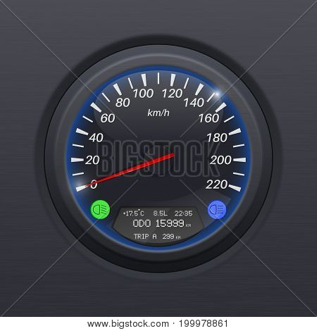 Speedometer. Black speed gauge. Classic car computer dashboard. Vector 3d illustration