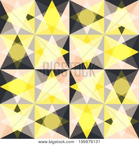 Kaleidoscope glass mosaic tiles seamless vector pattern. Glossy flat pastel yellow and pink colors triangle splinters background.