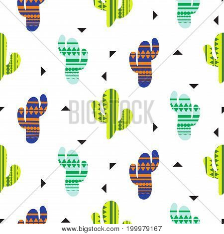 Cacti tribal vector seamless pattern. Mexican style color cacti textile print. Ethnic surface print with triangles on white wallpaper background.