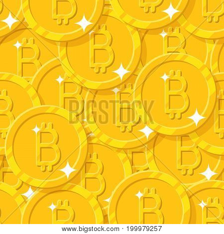 Bitcoin shining seamless pattern. Popular digital currency on line, new kind of money for modern business. Cartoon vector illustration