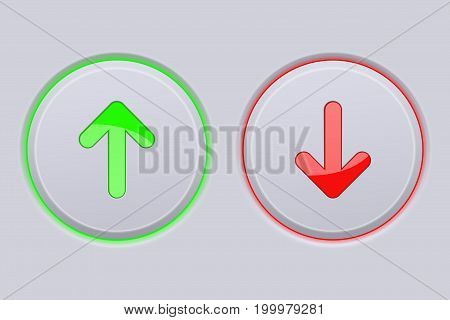 Up and Down round gray buttons with green and red arrows. Vector illustration