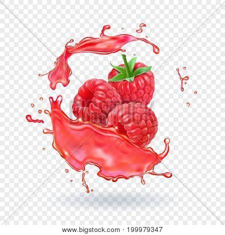 Raspberry juice Fresh ftuit splash Vector illustration.