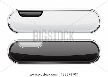 White and black oval buttons. Website menu interface elements. Vector 3d illustration isolated on white background