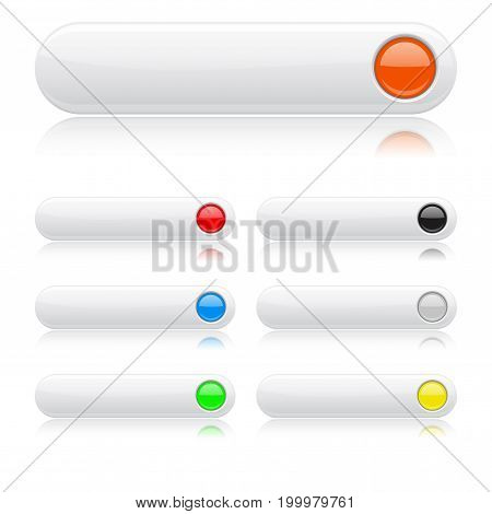 White glossy buttons.  Oval colored web icon with reflections. 3d Vector illustration on white background