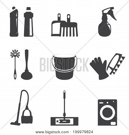 Vector illustration of cleaning icons line black collection