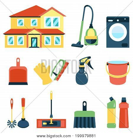 Vector illustration of cleaning icons color collection