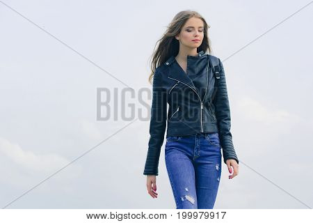 Girl With Long Hair In Leather Jacket
