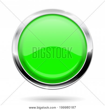 Green round button. Web icon with chrome frame. Vector illustration isolated on white background