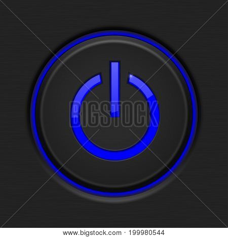 Black Power button with blue backlight. Vector illustration