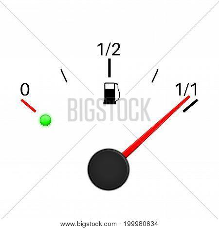 Fuel gauge. Full tank. Vector illustration on white