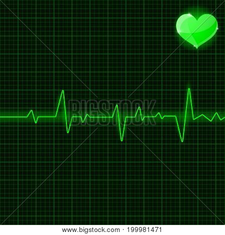 Green electrocardiogram. With heart symbol. Vector 3d illustration