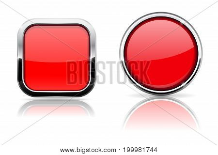 Red glass buttons. Square and circle shiny icons with chrome frame. Vector 3d illustration isolated on white background