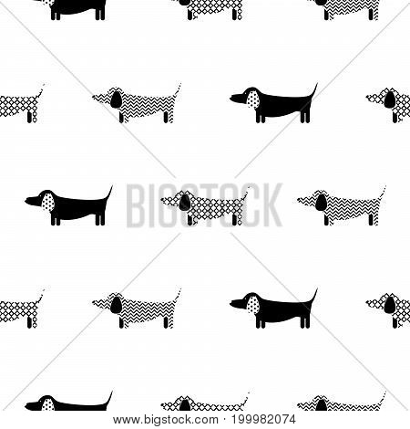 German badger-dog silhouette seamless vector monochrome pattern. Black and white patterned puppy dachshund breed background for textile fabric print and wallpaper.