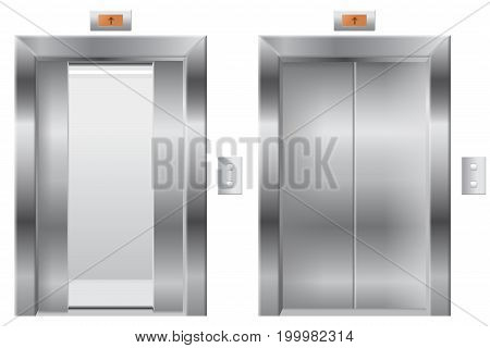 Elevator. Open and closed metal doors. Vector illustration isolated on white background