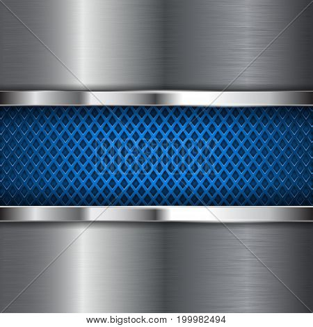 Metal shiny background with blue perforation. Diamond shape holes. Vector 3d illustration