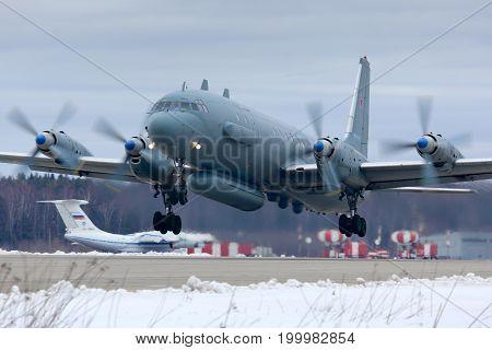 Kubinka, Moscow Region, Russia - February 19, 2014: Ilyushin Il-20M RF-93610 reconnaissance airplane takes off at Kubinka air force base.