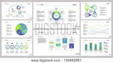 Infographic design set can be used for workflow layout, diagram, annual report, presentation, web design. Business and statistics concept with process, bar, line and percentage charts.