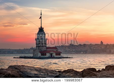 Maiden's Tower in the waters of Bosphorus, Istanbul