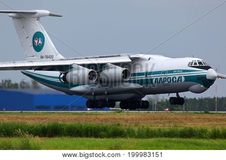 Domodedovo, Moscow Region, Russia - June 26 2011: Alrosa Ilyushin IL-76TD RA-76420 landing at Domodedovo international airport.