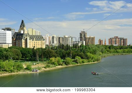 Saskatoon Saskatchewan,August 11th 2017.The skyline of Saskatoon with the South Saskatchewan river that runs through it.Come visit Saskatoon and enjoy the river activities.