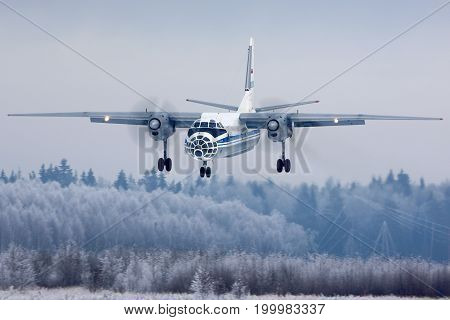 Kubinka, Moscow Region, Russia - March 26, 2014: Russian air force Open Skies Antonov An-30 05 BLACK landing at Kubinka air force base.