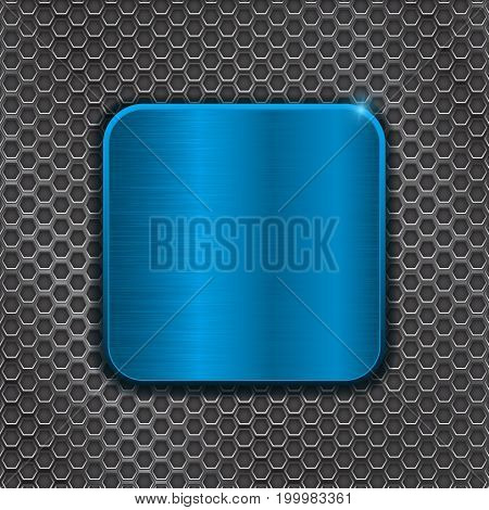 Blue metal plate on iron perforated background. Vector 3d illustration
