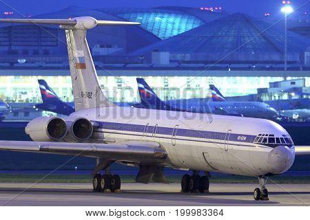 Sheremetyevo, Moscow Region, Russia - March 2, 2014: Former Aeroflot Ilyushin IL-62M RA-86492 standing at Sheremetyevo international airport.
