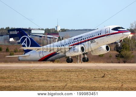 Zhukovsky, Moscow Region, Russia - April 23, 2014: Sukhoi Superjet-100 95003 of performing test flight in Zhukovsky.