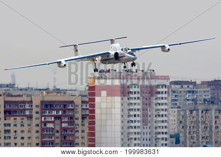 Zhukovsky, Moscow Region, Russia - August 10, 2012: Myasischev M-55 RA-55204 flying laboratory shown over city at 100 years anniversary of Russian Air Forces in Zhukovsky