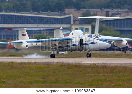 Zhukovsky, Moscow Region, Russia - August 11, 2012: Myasischev M-55 RA-55204 flying laboratory tousching down at 100 years anniversary of Russian Air Forces in Zhukovsky