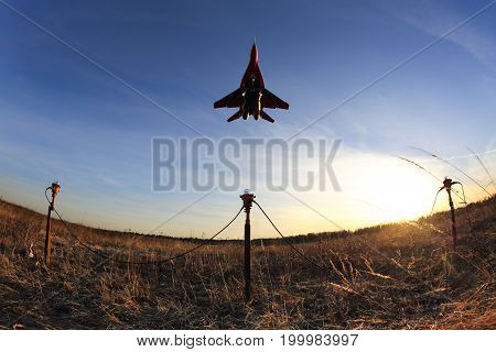 Kubinka, Moscow Region, Russia - March 26, 2014: Mikoyan Gurevich MiG-29 03 BLUE at Kubinka air force base.