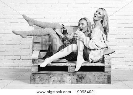 Women In Sweaters And Socks
