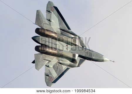 Zhukovsky, Moscow Region, Russia - August 10, 2012: Sukhoi T-50 PAK-FA 52 BLUE shown at 100 years anniversary of Russian Air Forces in Zhukovsky.