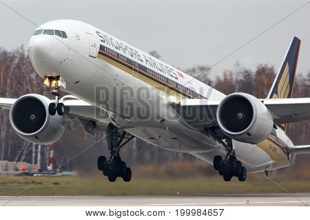Domodedovo, Moscow Region, Russia - October 23 2012: Singapore Airlines Boeing 777-300 9V-SWR taking off at Domodedovo international airport.
