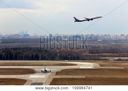 Sheremetyevo, Moscow Region, Russia - April 7, 2014: Aeroflot widebody airliners at Sheremetyevo international airport.